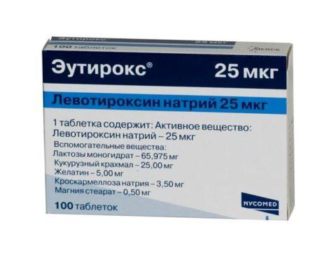 На фото – Эутирокс, являющийся синтетическим аналогом тироксина