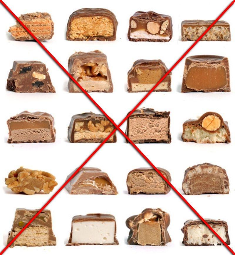 Нужно отказаться от сладостей, особенно от твердых батончиков и конфет с орехами